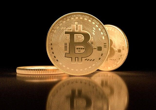 Golden Coin BTC dark background