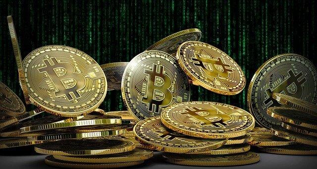 Golden Coin BTC matrix background