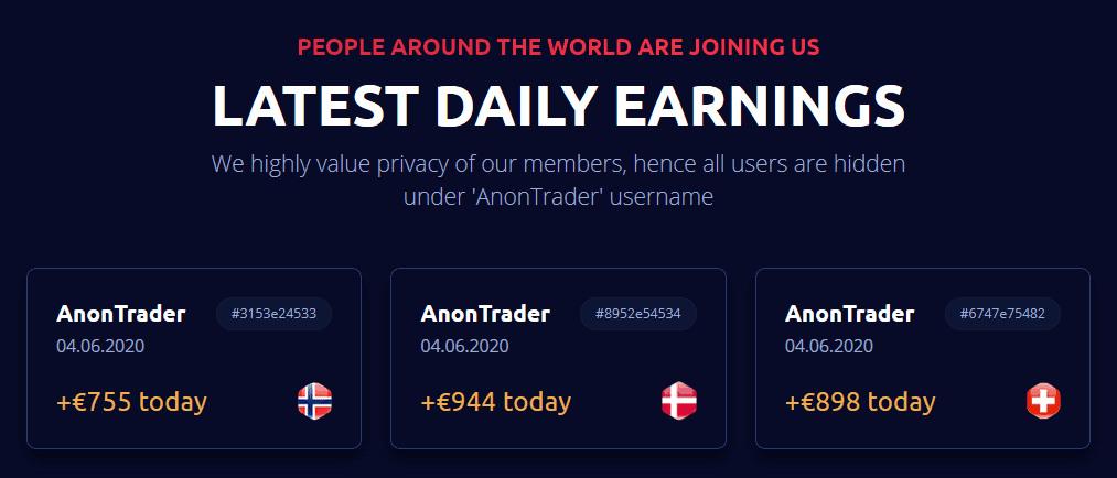 Anon System Crypto bot users earnings