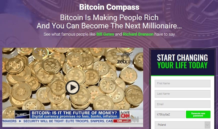 Homepage of Bitcoin Compass