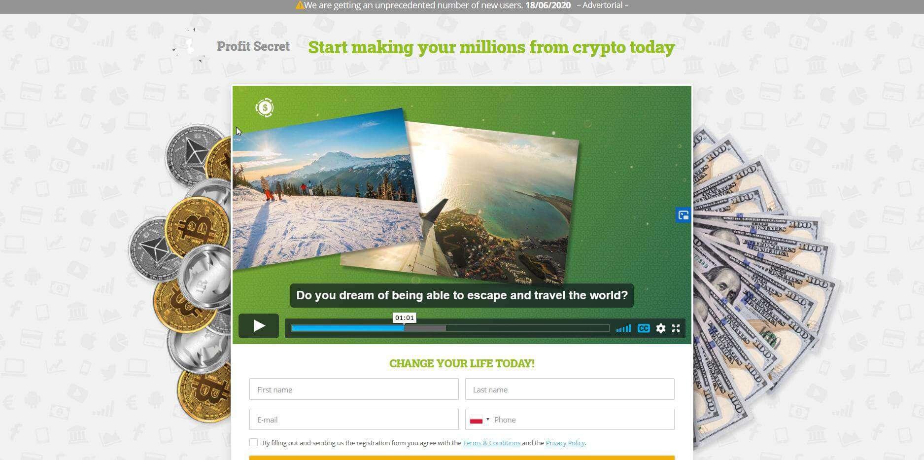 Homepage of Profit Secret