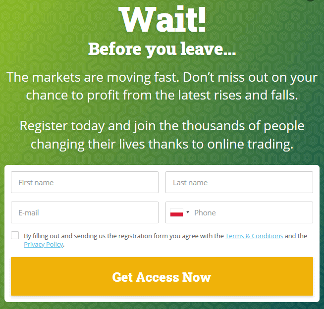 Profit Secret Account register form