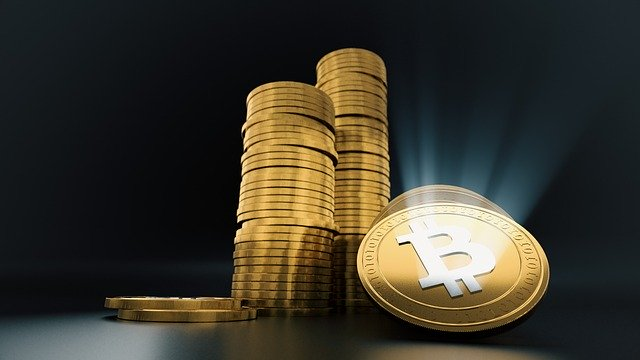 Golden Coin BTC dark background