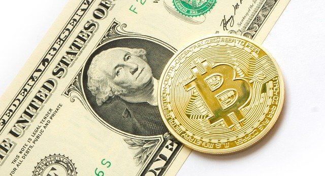 Golden Coin BTC on the top of a dollar