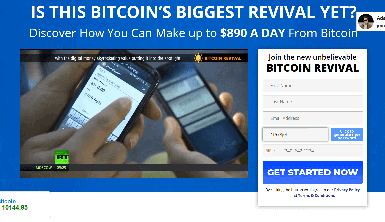 Homepage of Bitcoin Revival